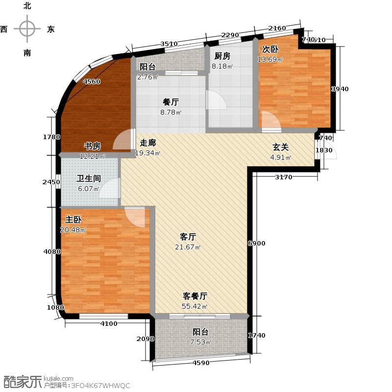 嘉凯城时代城二期东方龙域141.00㎡洋房H1-5户型3室2厅2卫