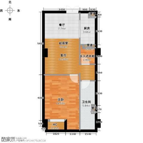 中城国际广场1室0厅1卫1厨56.00㎡户型图