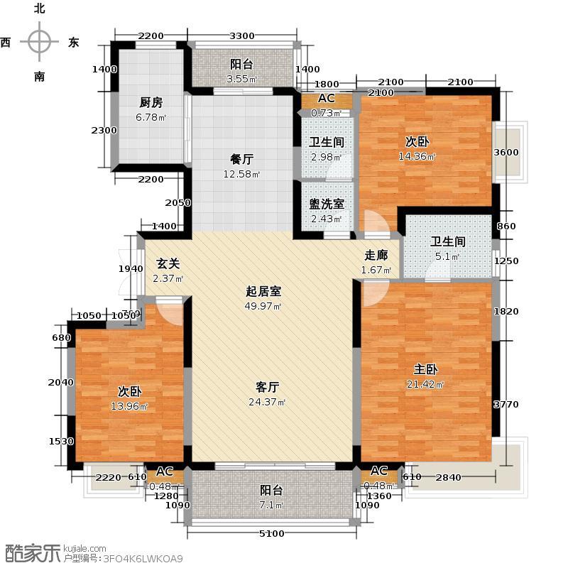 中国铁建国际城171.00㎡图为B6户型3室2厅2卫