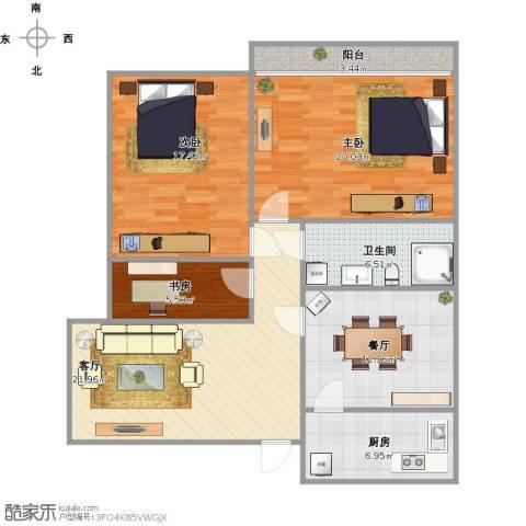 百花小区3室2厅1卫1厨126.00㎡户型图