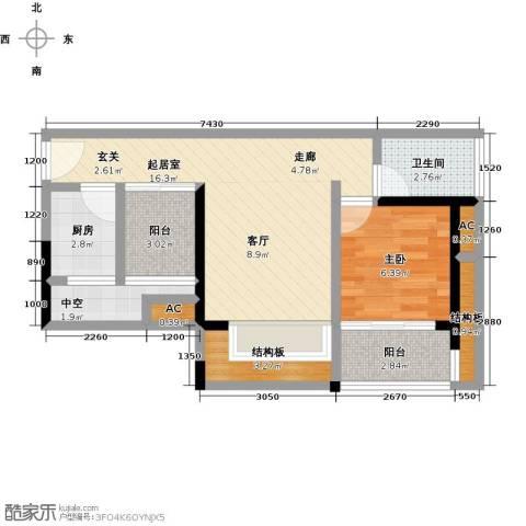 金水湾1室0厅1卫1厨50.35㎡户型图
