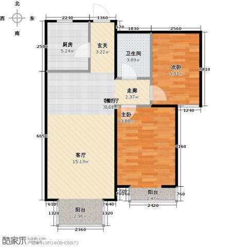 金海城2室1厅1卫1厨90.00㎡户型图