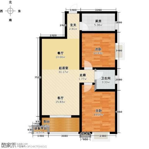 西安公馆2室0厅1卫1厨97.00㎡户型图