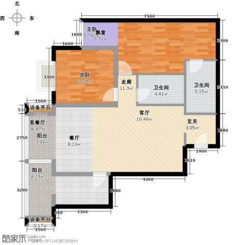 府上嘉园2室1厅2卫1厨125.00㎡户型图