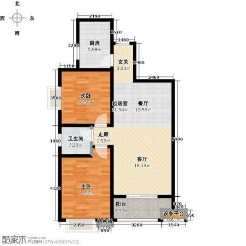 西安公馆2室0厅1卫1厨98.00㎡户型图