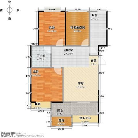 无锡港龙城市商业广场2室0厅1卫1厨89.00㎡户型图