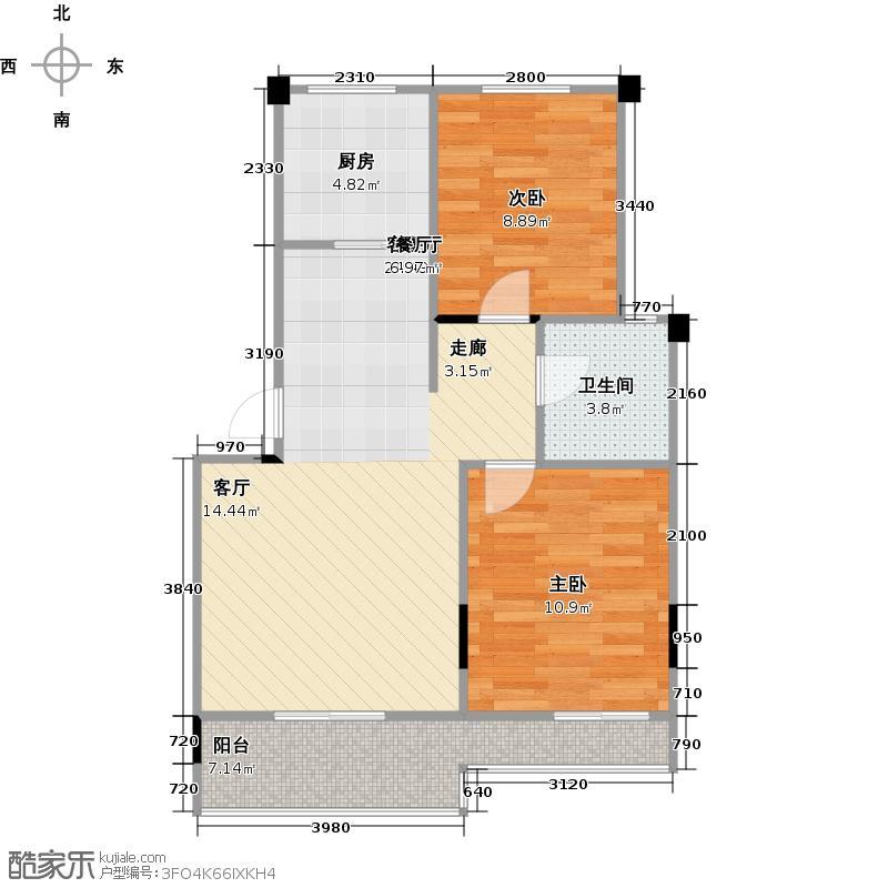 中城时代56.00㎡13#楼A-1b'户型 两房两厅一卫户型2室2厅2卫