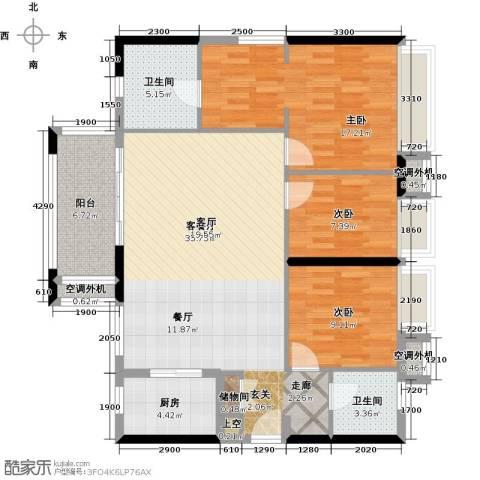 万科金悦华庭3室1厅2卫1厨117.00㎡户型图