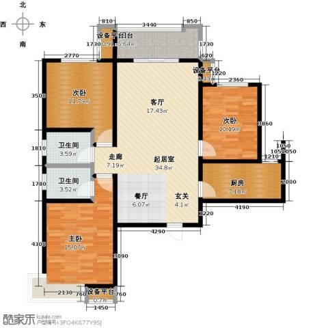 西安公馆3室0厅2卫1厨133.00㎡户型图