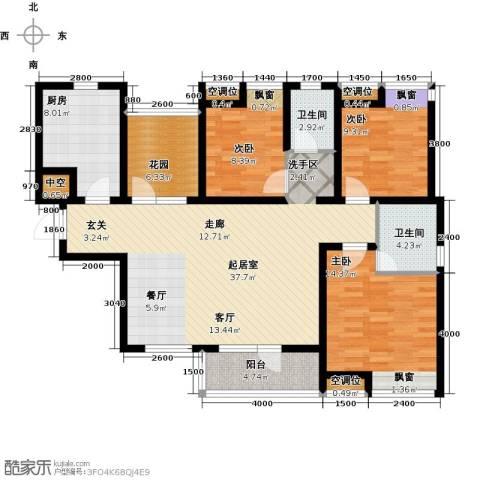 景瑞阳光尚城3室0厅2卫1厨133.00㎡户型图