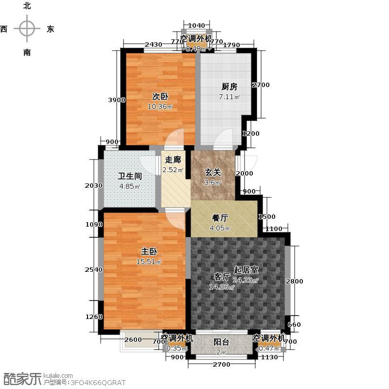 唐源・云居91平米 E户型 两室两厅一卫户型2室2厅1卫