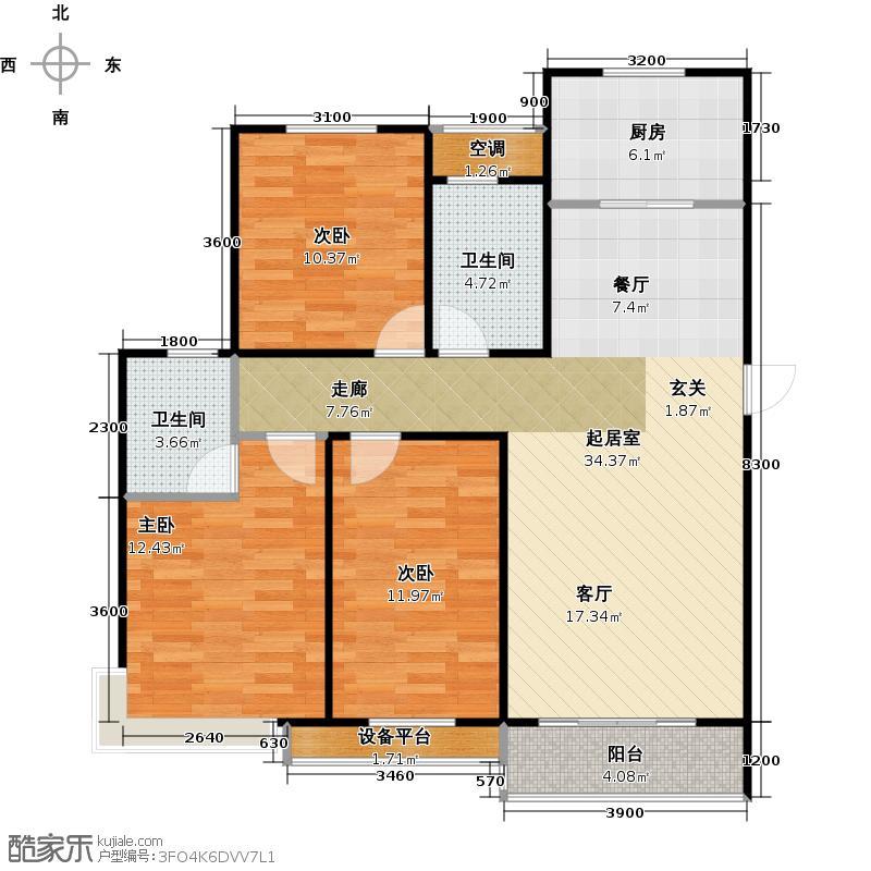 宏升君天下i户型三室两厅两卫119.94平米户型3室2厅2卫