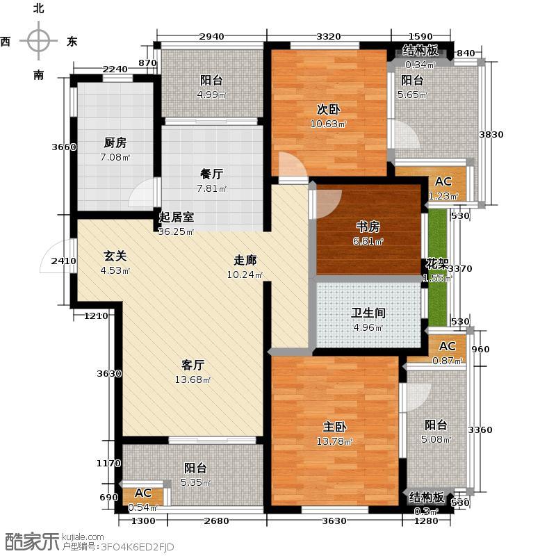 虹锦湾120.00㎡D户型3室2厅1卫LL