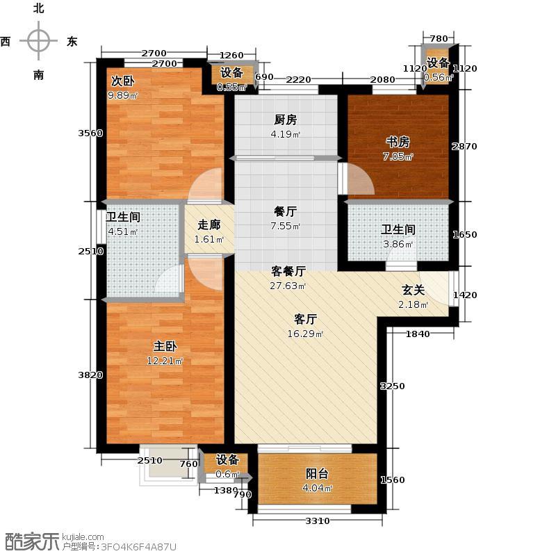 君和广场107.00㎡三室两厅两卫户型3室2厅2卫