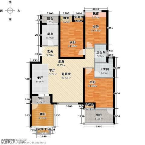 景瑞阳光尚城3室0厅2卫1厨166.00㎡户型图