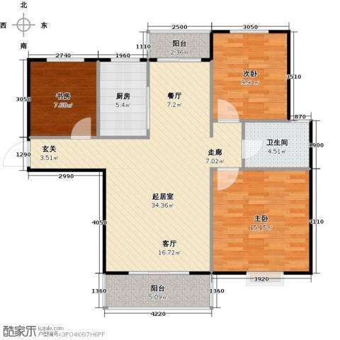 泰和世家3室0厅1卫1厨129.00㎡户型图