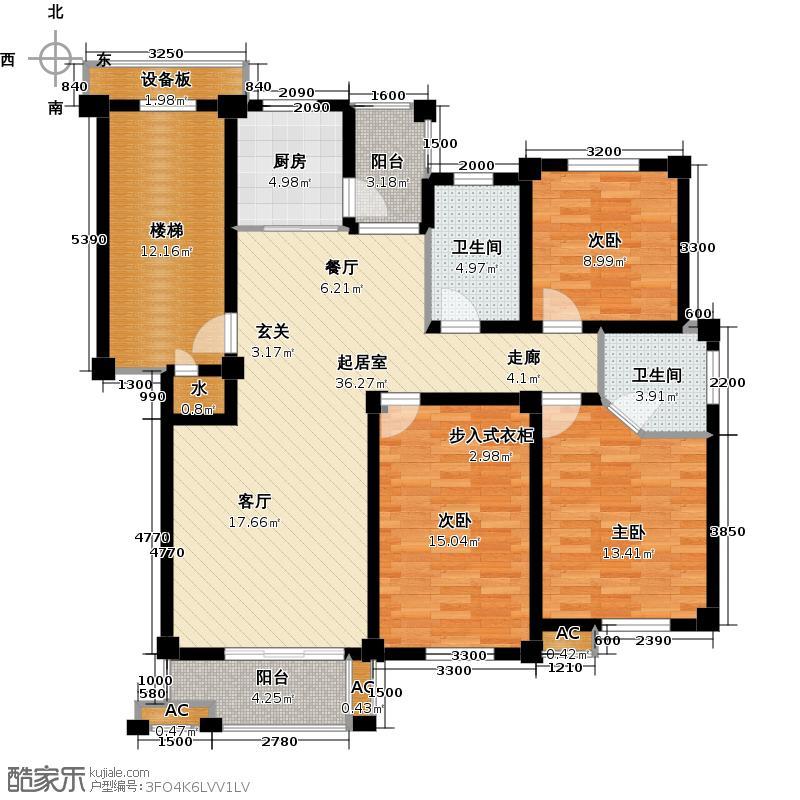 远诚公馆116.20㎡2#01户型 三室二厅二卫户型3室2厅2卫