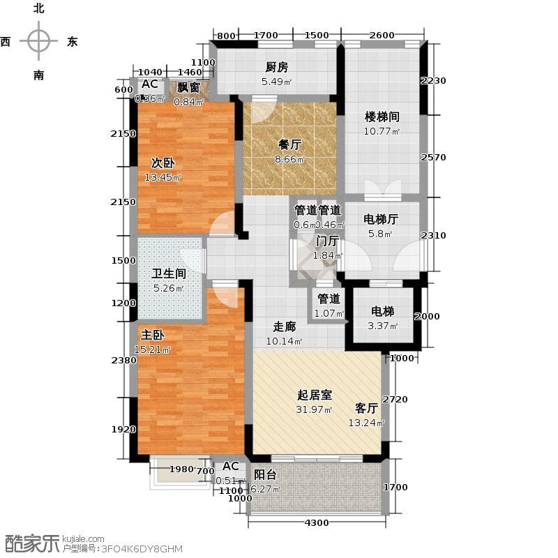 新世界阳光花园两室两厅一卫户型图户型