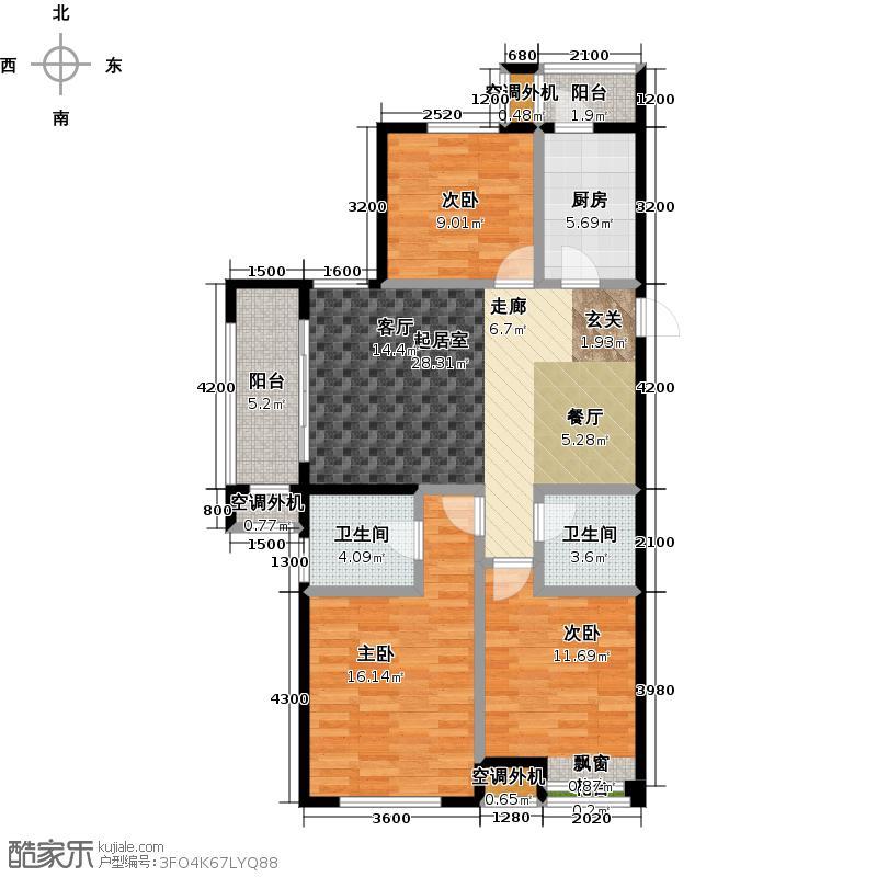 龙泽书苑112.00㎡E-01户型3室2厅2卫