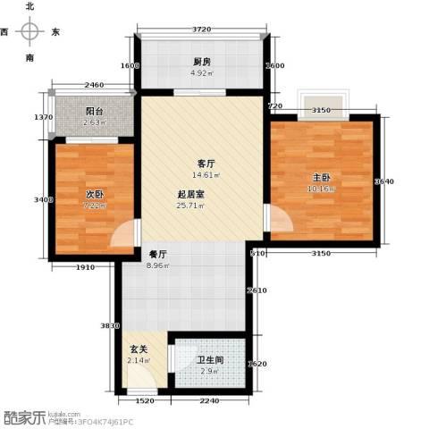 学府街区2室0厅1卫1厨69.00㎡户型图