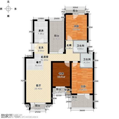 景瑞阳光尚城3室0厅2卫1厨126.00㎡户型图