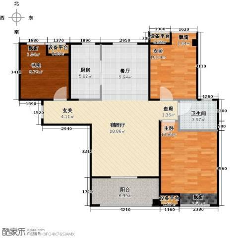 紫阳楚世家3室1厅1卫1厨100.00㎡户型图