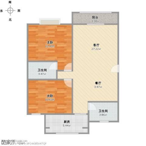 都林龙苑2室1厅2卫1厨90.00㎡户型图