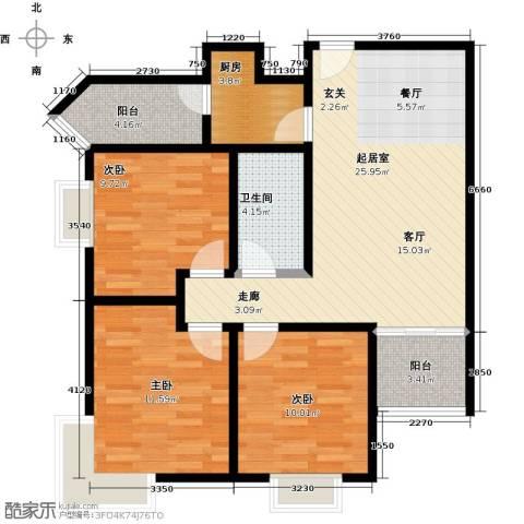 学府街区3室0厅1卫1厨93.00㎡户型图