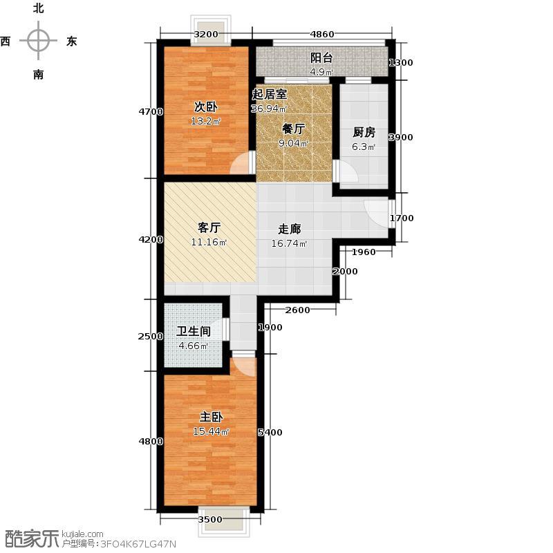 新世界阳光花园B1户型 两室两厅一卫113-117平米户型2室2厅1卫