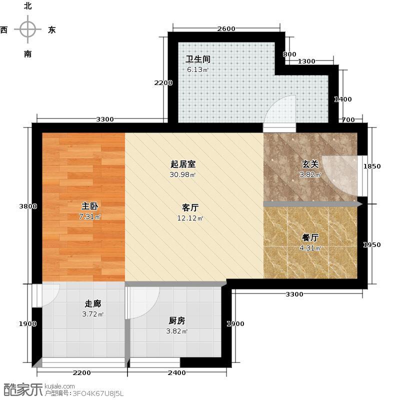 新世界阳光花园59.09㎡一室一厅一卫户型1室1厅1卫