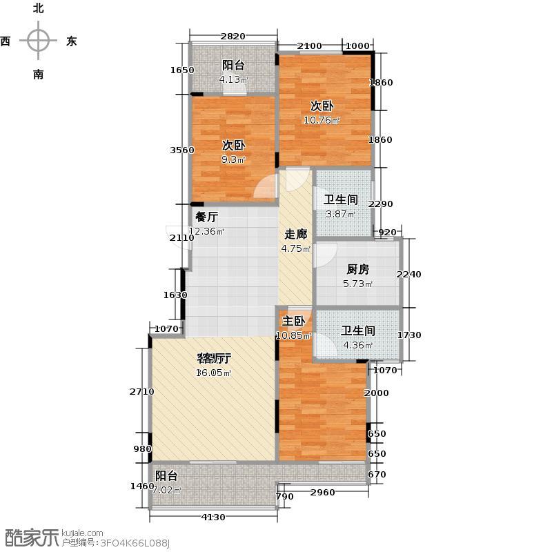 中城时代82.00㎡C户型 三房两厅两卫户型3室2厅2卫