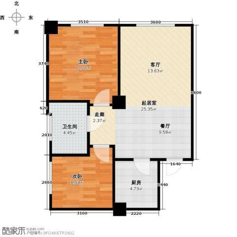 浪琴湾2室0厅1卫1厨60.00㎡户型图