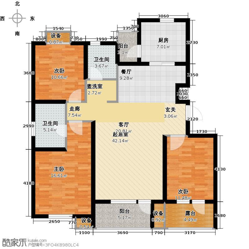上城雅园126.00㎡D1户型三室两厅两卫户型