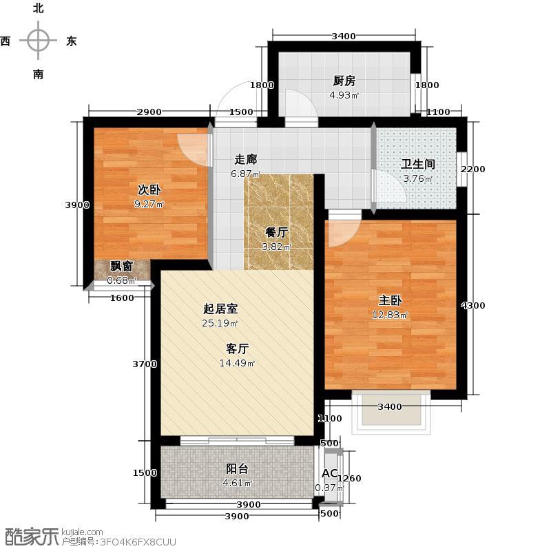 兰亭鉴筑花园89.76㎡1# 一单元 两室两厅一卫户型2室2厅1卫