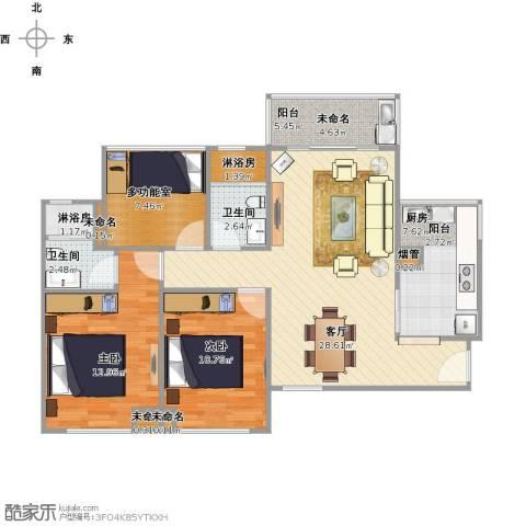 金地朗悦2室1厅2卫1厨110.00㎡户型图