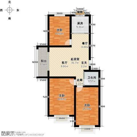 公元大道3室0厅1卫1厨109.00㎡户型图