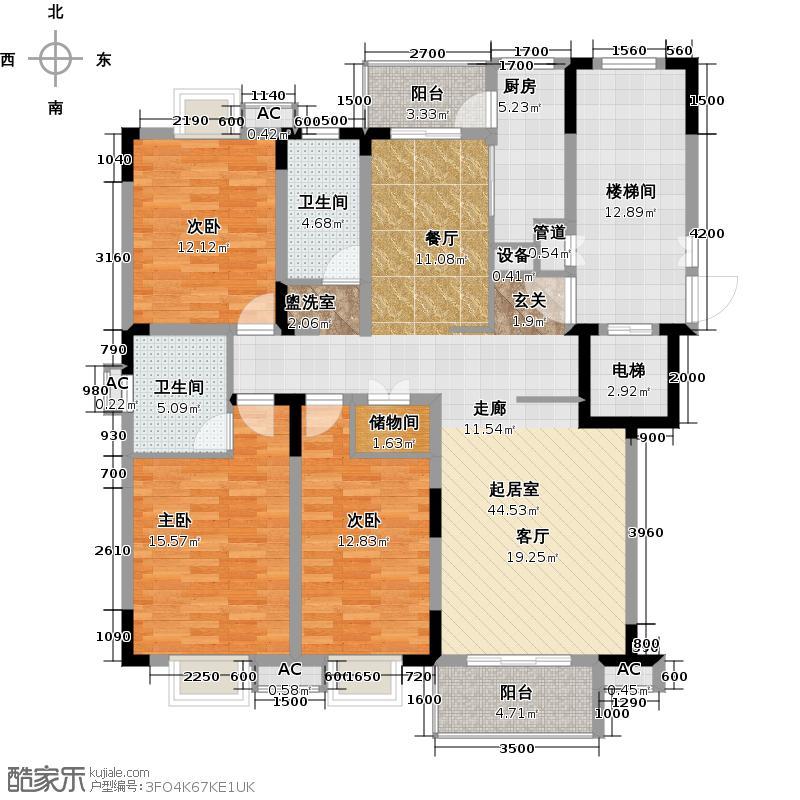 新世界阳光花园三室两厅二卫户型图户型