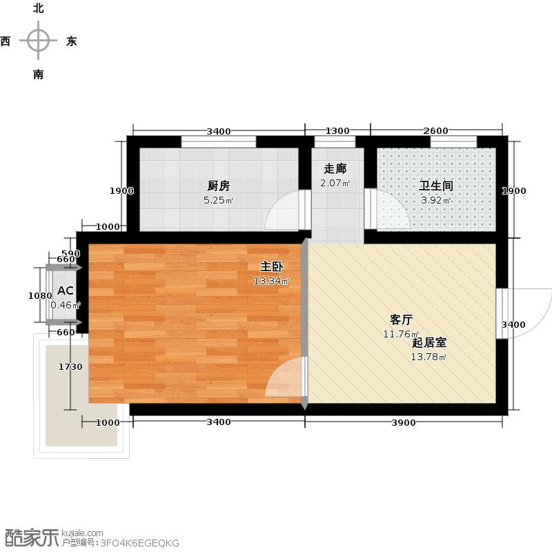 兰亭鉴筑花园55.65㎡一室一厅一卫户型1室1厅1卫