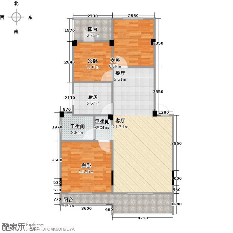 中城时代72.00㎡12#楼B-1a'户型 三房两厅一卫户型3室2厅1卫