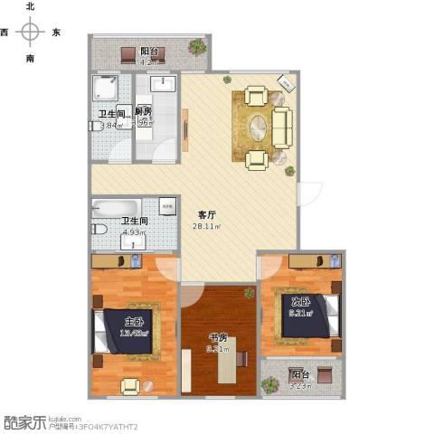 朗诗国际街区(跃层)3室2厅2卫1厨109.00㎡户型图
