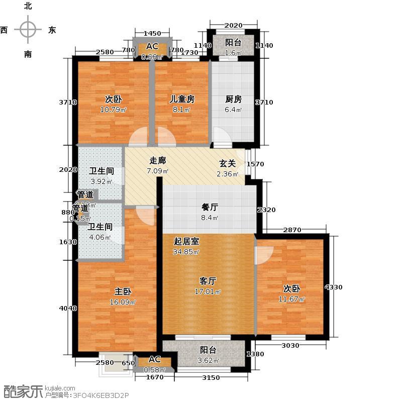 丽景长安144.00㎡丽景长安户型图D2户型四室两厅一厨两卫(3/3张)户型4室2厅2卫