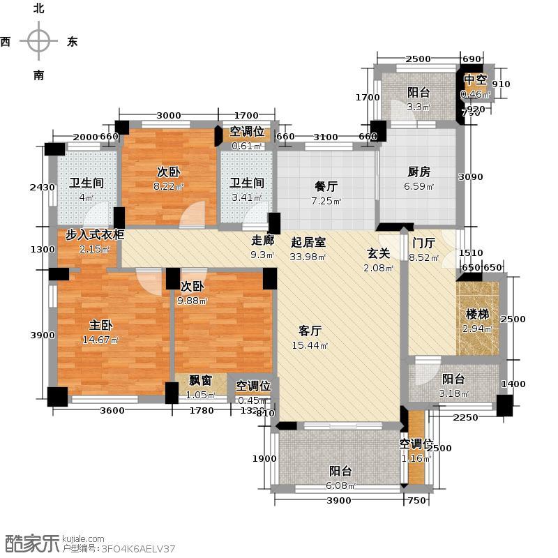 保利海上五月花119.00㎡HA户型一层平面图户型3室2厅2卫