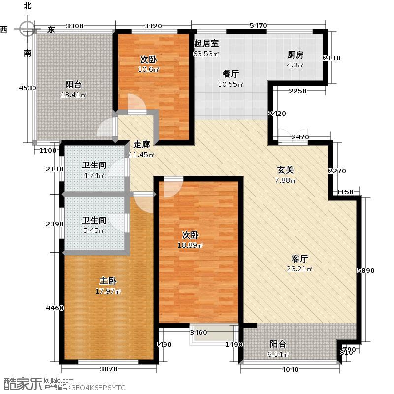 亿利傲东国际155.00㎡12层户型3室2厅2卫LL