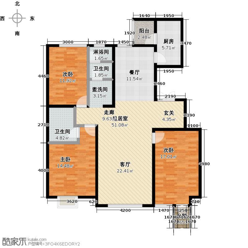 亿利傲东国际140.00㎡首层东单元户型3室2厅2卫LL