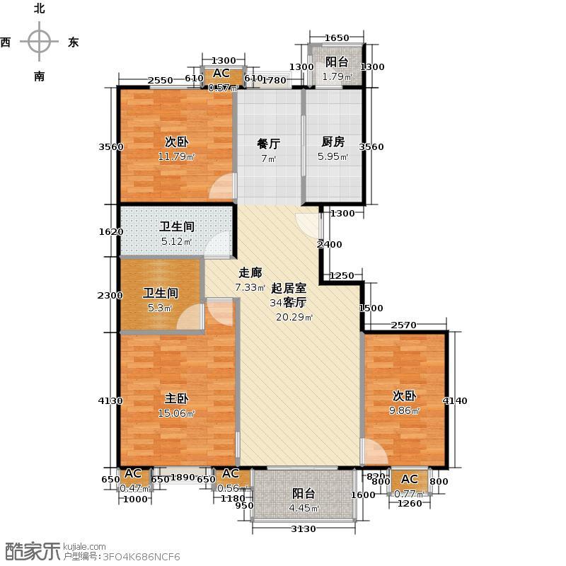 国信浅山D1户型三室二厅二卫户型