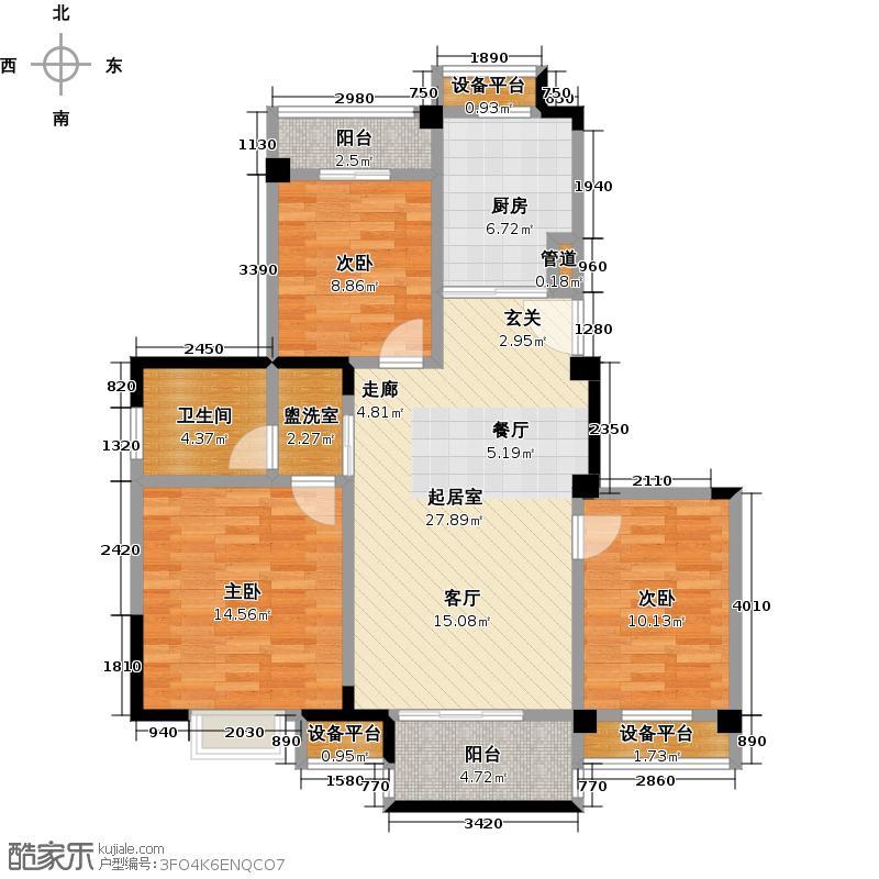 东渡伊顿小镇99.00㎡三室两厅一卫99平米户型3室2厅1卫