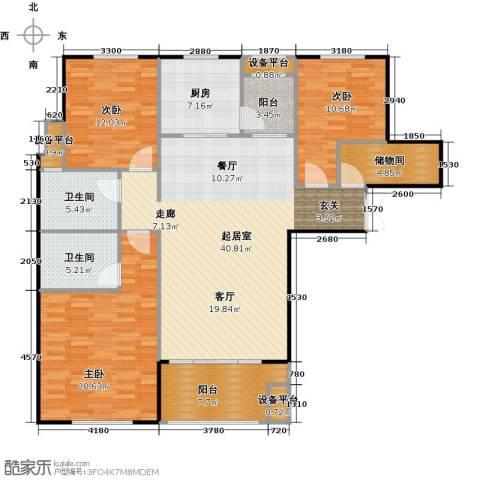 邦泰中央花城3室0厅2卫1厨130.00㎡户型图