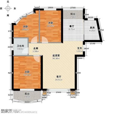 俪晶阁3室0厅1卫1厨91.28㎡户型图