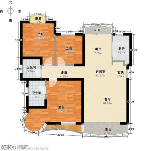 俪晶阁3室0厅2卫1厨105.88㎡户型图