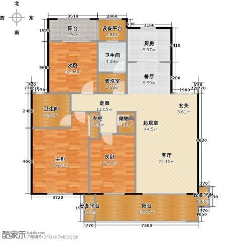 邦泰中央花城3室0厅2卫1厨145.00㎡户型图